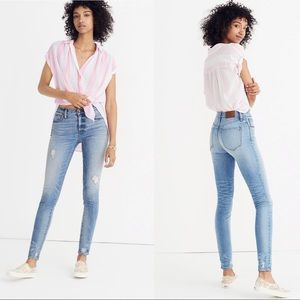 """Madewell 9"""" High Rise Distressed Skinny Jeans 24"""